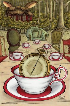 Alice in Wonderland Mad Tea Party Whimsical art - Always 6 O'clock Lewis Carroll, Alicia Wonderland, Adventures In Wonderland, Alice In Wonderland Illustrations, Alice Book, Alice Madness Returns, Mad Hatter Tea, Mad Hatters, Were All Mad Here