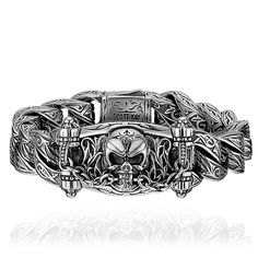 """Scott Kay sterling silver from the """"Unkaged"""" collection is titled """"Jaws of Life"""" and has an yellow gold accent on the clasp. Silver For Jewelry Making, Mens Silver Jewelry, Mens Gold Bracelets, Silver Skull Ring, Sterling Silver Bracelets, Guy Jewelry, Skull Jewelry, Gothic Jewelry, Jewelery"""