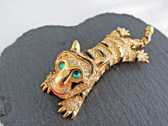 For Restoration - Vintage Tiger Brooch Stamped A2345 (Sphinx) Articulated Head  #SphinxDesignNumber