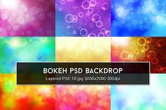 Bokeh PSD Backdrop Graphics Bokeh PSD Backgrounds are suitable for using as backdrops for your website, facebook cover, flyer et by Krukowski Graphics