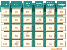Variables, Expressions, Equations, and Inequalities Jeopardy-like PowerPoint Review Teacher Notebook, Math Teacher, Math Classroom, Teaching Math, Classroom Ideas, Teacher Stuff, Classroom Inspiration, Teaching Reading, Maths Algebra