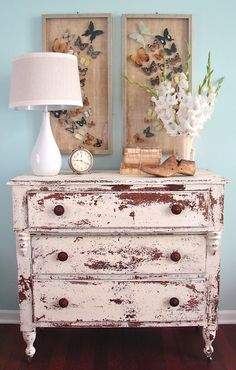 Linen MMS Milk Paint (oh.and those butterflies! Distressed Furniture, Repurposed Furniture, Shabby Chic Furniture, Rustic Furniture, Diy Furniture, Distressed Dresser, Milk Paint Furniture, Furniture Projects, Furniture Makeover