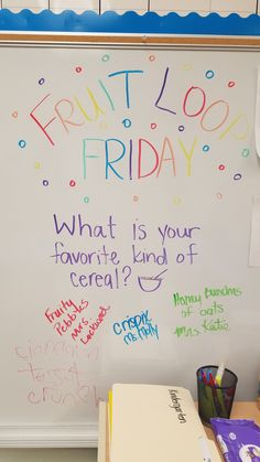 Fruit Loop Friday Daily Writing Prompts, Writing Assignments, Question Of The Day, This Or That Questions, Morning Board, Morning Activities, Morning Meetings, Bell Work, Responsive Classroom