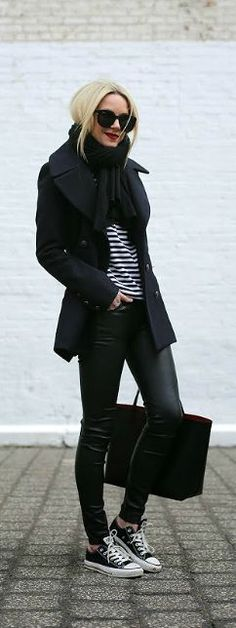Fall / Winter - street style - black coat + black scarf + black & white stripped top + black leather skinnies + black converse