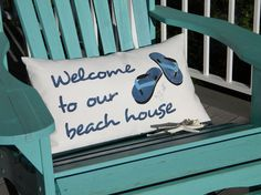Flip flops welcome to our beach house lumbar pillow by crabbychris, $38.00