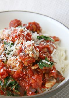 Turkey Meatballs and Spinach Pasta - yum!