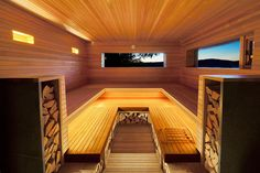 Wooden Folly By Andre Tchelistcheff Architects Houses A Sauna In The Hudson Valley Hudson Valley, Design Sauna, Small Wood Burning Stove, Wooden Hut, Architects Journal, Spa Lighting, Outdoor Sauna, Interior Architecture, Interior Design