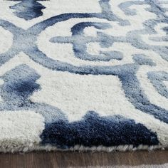Safavieh Dip Dye X Hand Tufted Wool Pile Rug in Ivory and Navy Carpet Runner, Rug Runner, Watercolor Rug, Navy Rug, Washable Rugs, Rug Material, Accent Rugs, Muted Colors, Tile Patterns