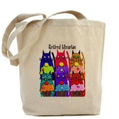 Retired Librarian Cat Lover http://www.cafepress.com/ retired_librarian_tote_bag,843176817?aid=1115743   CafePress has the best selection of custom t-shirts, personalized gifts, posters , art, mugs, and much more.{Cafepress-cRglaWcf}