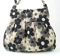 black white flowers tote  messenger  diaper bag purse by daphnenen,