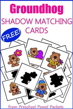 Fun Groundhog Day activities to do with an adorable {FREE} printable set of shadow matching cards! Perfect for preschool, kindergarten, toddlers, and 1st grade. Could use for activities for older kids too!