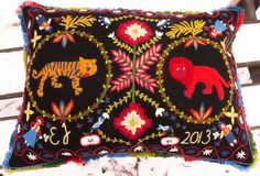 Woolen embroidery in style from southern Sweden