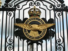 The Royal Air Force badge on the gates of RAF Cranwell. Lived here!