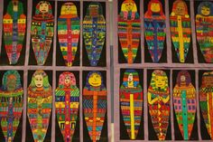 Mummy Cases- Egyptian 6th by paintedpaper, via Flickr Ancient Egypt Lessons, Ancient Art, Ancient Egypt Display, Egyptian Crafts, Mummy Crafts, 6th Grade Art, Egypt Art, Ecole Art, Art Activities For Kids