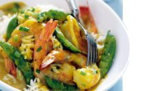 Shrimp and Sugar Snap Peas in Curried Coconut Sauce
