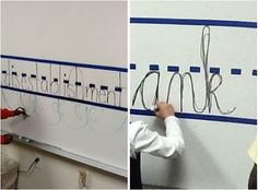 Use painter's tape on a chalkboard or whiteboard as a place for students to practice their penmanship. | 37 Insanely Smart School Teacher Hacks
