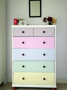 I want to do this to Hannah's chest of drawers.. different colours though! Google Image Result for http://www.shelterness.com/pictures/kids-chest-of-drawers-after-1.jpg