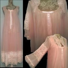 08156c8ff852 vintage POWDER PINK double chiffon 1950s 1960s 50s 60s Madmen DOUBLE sheer  nylon CHIFFON LACE night