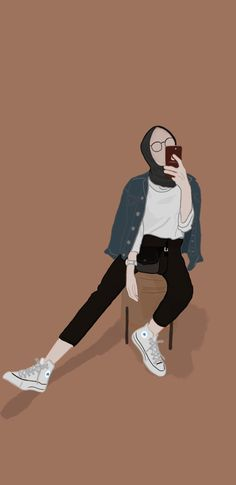 Hijab Drawing, Islamic Cartoon, Hijab Cartoon, Cute Girl Drawing, Illustration Art Drawing, Mini Canvas Art, Pretty Anime Girl, Art Drawings Sketches Simple, Mocca