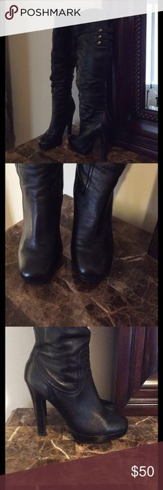 Jessica Simpson leather boots Tall platform leather boot. Can be worn folded with a cuff or without. Worn twice. Jessica Simpson Shoes Heeled Boots