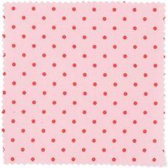 Tissu rose à pois rouges