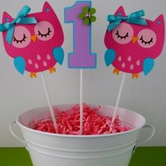 REESE - 3 Colorful Owl Birthday Party Centerpiece by sweetheartpartyshop Owl Parties, Owl Birthday Parties, Birthday Ideas, Owl First Birthday, Cadeau St Valentin, Baby Girl Owl, Birthday Party Centerpieces, First Birthdays, Party Time