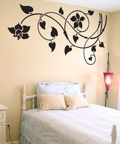 Vinyl Wall Decal Sticker Lily Vines by Stickerbrand on Etsy Simple Wall Paintings, Creative Wall Painting, Creative Wall Decor, Wall Painting Decor, Wall Stickers Home Decor, Vinyl Wall Decals, Wall Paint Patterns, Bedroom Wall Designs, Wall Drawing