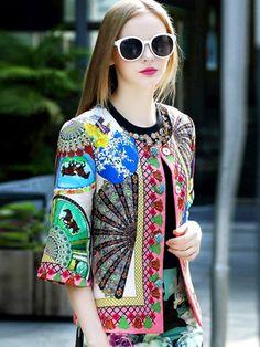 Buy Multicolor Round Neck Half Sleeve Jacquard Coat from abaday.com, FREE shipping Worldwide - Fashion Clothing, Latest Street Fashion At Abaday.com