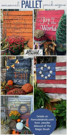 Easy DIY seasonal painted pallet porch signs | Make a big impact in your porch decor without spending a lot of time or money. #palletprojects #palletdecor