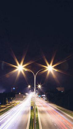 Night Road Exposure Dark Light City Car #iPhone #5s #wallpaper