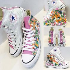 #CONVERSE##LILLA##FLOWER##PITONE##MADREPERLA##STRASS#