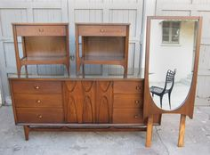 9 drawer credenza 2 night stands and a matching mirror Inspired by. Mid Century Bedroom, Mid Century House, Mid Century Modern Furniture, Mid Century Modern Design, American Bedroom, Decoration, Home Furnishings, Furniture Sets, Mid-century Modern