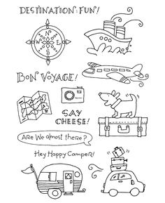 Time Clear Stamp Set TRAVEL TIME Clear Stamps available at Inky Antics. Bullet Journal Art, Bullet Journal Inspiration, Doodle Drawings, Easy Drawings, Travel Doodles, Travel Stamp, Tampons Transparents, Sketch Notes, Travel Drawing