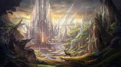 Fantasy Dragon landscape | Fantasy Theme With Dragon Overlooking Landscape Cute Wallpaper
