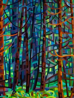 Contemporary abstract landscape painting art by Mandy Budan - In A Pine Forest