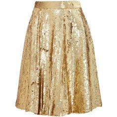 Temperley London Sequined silk-chiffon skirt ($977) ❤ liked on Polyvore featuring skirts, bottoms, saias, gold, sequin skirt, beige skirt, knee high skirts, knee length skirts and temperley london