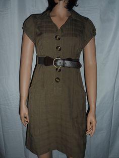 Bobbie Bee Womens Dress New Size 6 Petite Brown Grid Design with Matching Belt #AsymmetricalHem #WeartoWork