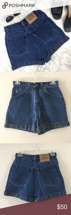 """Vintage Levi's Orange Tab High Waisted Mom Shorts Super cool and perfect for the summer. These shorts are in excellent vintage condition. Five pocket construction, cuffed hem, belt loops and button/zip closure. Length: 13.75"""" Waist: 13"""" Rise: 12"""" Levi's Shorts Jean Shorts"""
