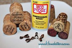 With all the Wine and Champagne Corks I got for free from Walt Disney World's Epcot France Pavilion I decided to come up with some stuff to make with them, and I started thinking about the ti… Wine Cork Jewelry, Wine Cork Art, Bottle Jewelry, Diy Jewelry, Wine Bottle Candles, Wine Bottle Corks, Lighted Wine Bottles, Bottle Caps, Wine Craft