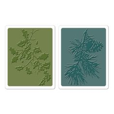 Sizzix Texture Fades Embossing Folders 2PK - Holly Branch & Pine Branch Set $10.99