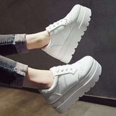 Girls Womens Lace Up Platform Wedge Hidden Heels Creepers Casual Brogue Shoes