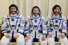 https://flic.kr/p/vXZYbX | jsc2015e071471 | In the Integration Facility at the Baikonur Cosmodrome in Kazakhstan, Expedition 44 crewmembers Kjell Lindgren of NASA (left), Oleg Kononenko of the Russian Federal Space Agency (Roscosmos, center) and Kimiya Yui of the Japan Aerospace Exploration Agency (right) pose for pictures July 11 prior to a fit check dress rehearsal session. The trio will launch July 23, Kazakh time from Baikonur in their Soyuz TMA-17M spacecraft for a five-month mission…
