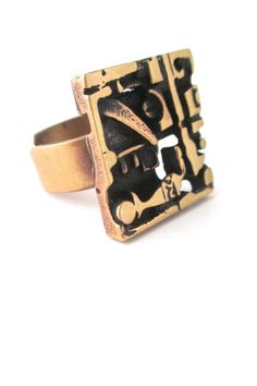Jorma Laine, Finland - polished bronze square ring #bronze #Finland #ring