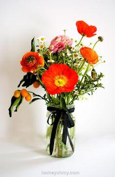 How to Arrange Flowers- Ranunculus, kumquats, and poppies