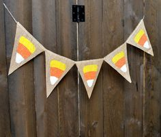 Glitter CANDY CORN burlap banner for Halloween by LylaDee on Etsy