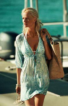 937e8f4feb Beautiful kaftan and beach bag by Heidi Klein. www.stylisbeachwear.com Blue  Beach