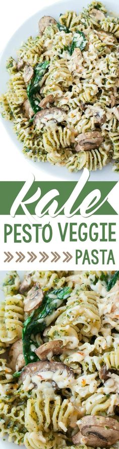"""A few easy steps will take this gorgeous green pesto from """"Kale?"""" to """"KALE YEAH!"""" This roasted garlic kale pesto is great with pasta, veggies, and cheese!"""