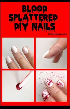 Blood Splattered Nails for Halloween