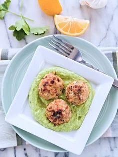Greek Chicken Meatballs with Avocado Tzatziki Sauce