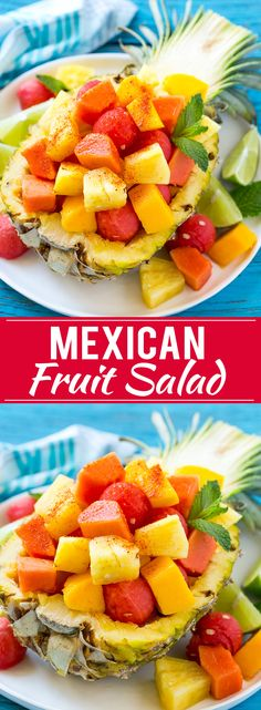 recipe for Mexican fruit salad is a blend of tropical fruit topped with chili lime seasoning - a sweet and savory delight that everyone will want seconds of! Mexican Fruit Salads, Best Fruit Salad, Fruit Salad Recipes, Mexican Food Recipes, Mexican Dishes, Mexican Food For Party, Tropical Fruit Salad, Fruit Fruit, Fruit Dishes